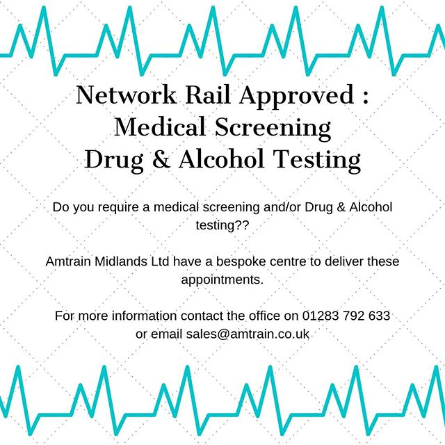 Do you require a Rail approved Medical and/or D/A screening??⠀ Please call the office on 01283792633 or email info@amtrain.co.uk if you are interested or for more info