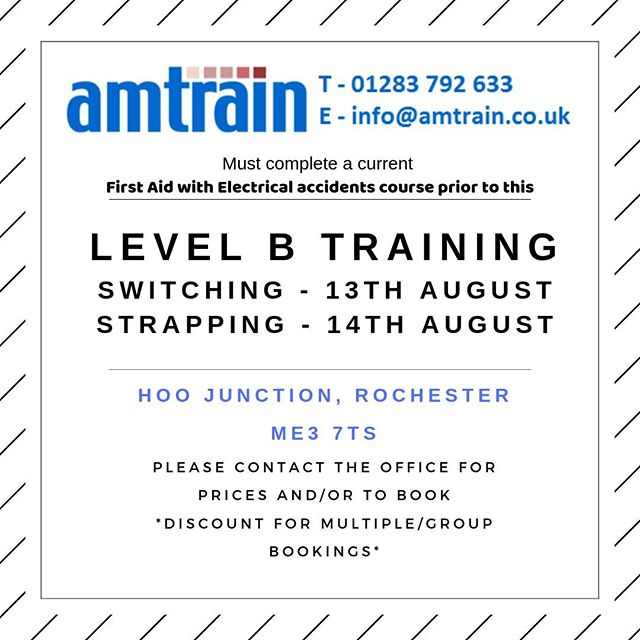 Level B courses at Amtrain in Rochester coming up!!⠀ Please call on 01283792633 or email info@amtrain.co.uk to book or for more information