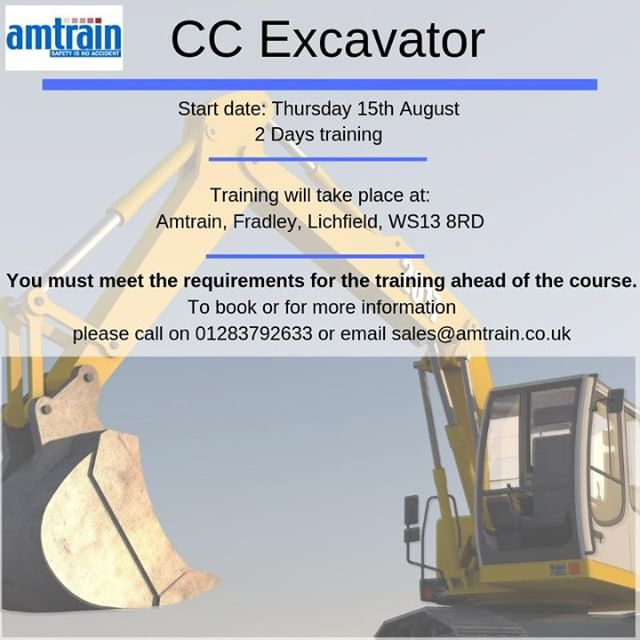 Few days remaining to book!!⠀ CC Excavator training at Amtrain, Fradley, Lichfield ⠀ Please call the office on 01283792633 or email info@amtrain.co.uk if you are interested or for more info