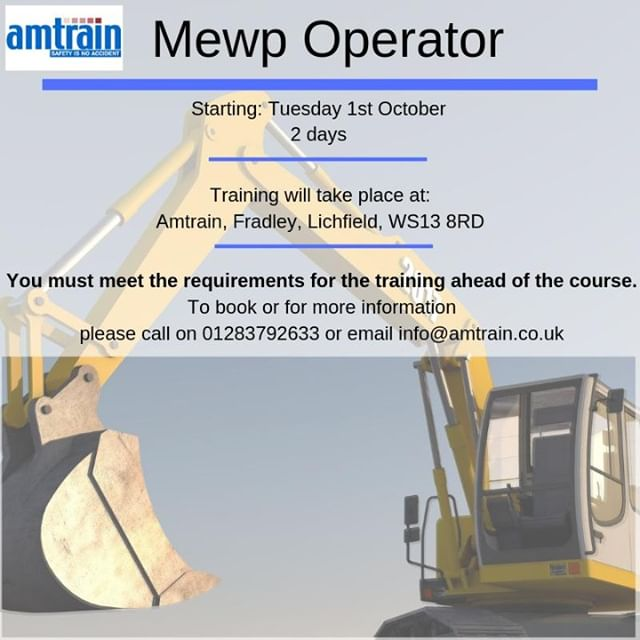 Please call the office today on 01283792633 or email info@amtrain.co.uk if you are interested in completing any of the following courses!!